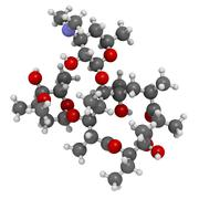 erythromycin antibiotic drug (macrolide class), chemical structure - stock illustration