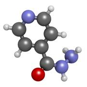 isoniazid (isonicotinylhydrazine, inh) tuberculosis antibiotic, chemical stru - stock illustration