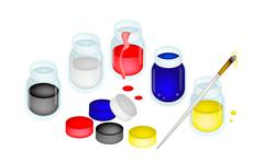 Open Color Paint Jars with Artist Brushes - stock illustration