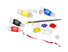 Color Paint Tube in Palette with Artist Brushes - stock illustration
