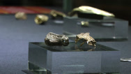 Stock Video Footage of Staffordshire Hoard Collection of Golden Artifacts