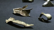 Stock Video Footage of Staffordshire Hoard Golden Artifacts