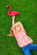 cute happy little girl smiling outside - stock photo