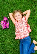 Cute happy little girl smiling Stock Photos