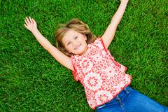 cute happy little girl smiling - stock photo