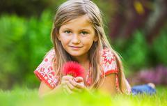 cute happy little girl - stock photo