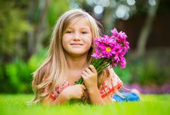 Cute happy little girl Stock Photos
