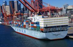 Container ship and dockyard cranes Stock Photos