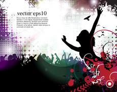 Stock Illustration of Dancing young people. Vector