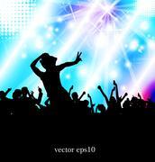 Music club background for disco dance international event - stock illustration