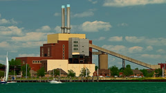 300 megawatt power plant along the Detroit River Stock Footage