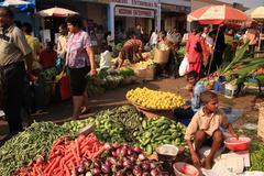 fruit and vegetable market goa - stock photo