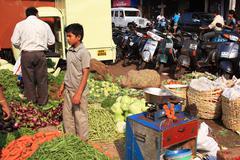 food stall at goan street market - stock photo