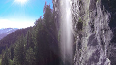 AERIAL: Flying into the waterfall Stock Footage
