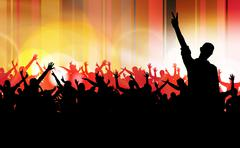 Concert crowd in front of stage. Vector illustration - stock illustration