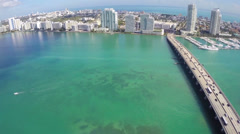 Aerial approach to Miami Beach - stock footage