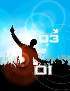 Stock Illustration of Concert crowd in front of stage. Vector illustration