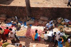 Stock Photo of looking down onto an indian food market goa