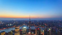 4K: China Shanghai Skyline, Day to Night. TimeLapse. Stock Footage