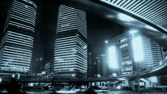 Shanghai night traffic & skyscraper,light trails of cars under overpass. Stock Footage