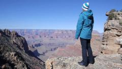 Stock Video Footage of AERIAL: Hiking in Grand Canyon