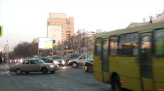 Winter street with cars in Yekaterinburg Stock Footage