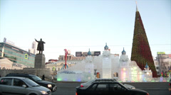 Street ice town in Yekaterinburg winter morning Stock Footage