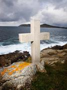 cross tribute to sailors lost at ocean - stock photo