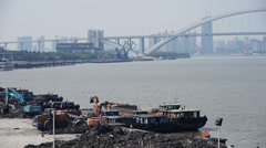 Excavator working & dumper truck on construction site,shanghai pier & shipping. Stock Footage