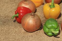 onion and paprika on sand - stock photo