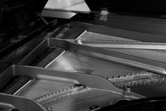 Piano strings and hammer detail black and white Stock Photos