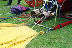 set up balloon on ground - stock photo