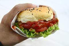 Hand hold hamburger on white Stock Photos