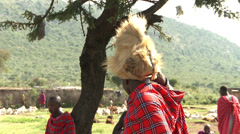 Masai warrior with lion hat Stock Footage