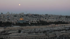 Snow and Full Moon in Jerusalem Stock Footage