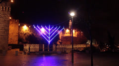 Large Menorah in the Jewish Holiday of Hanukkah in Israel Stock Footage