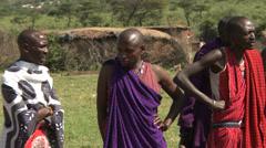 Masai men traditional dance Stock Footage
