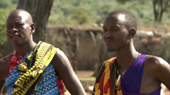 Masai men traditionally dressed 2 - stock footage