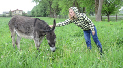 Farmer woman feeding cute wet donkey animal with meadow grass Stock Footage