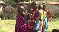 Masai men traditionally dressed Stock Footage