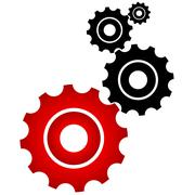 Red and black cogs - stock illustration