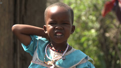 Masai child face with flies Stock Footage
