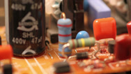 Stock Video Footage of Electronic board consisting of resistors and transistors
