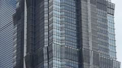 Closeup skyscraper glass windows,urban morden business buildings district. Stock Footage