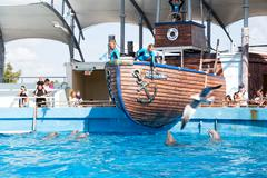 the dolphins enclosure at the miami seaquarium - stock photo