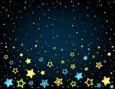 Cartoon star colored background - stock illustration