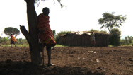Stock Video Footage of Old masai man standing in village