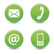 contact us web green buttons icons - stock illustration