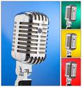 Collage of microphones on different colored backgrounds Stock Illustration