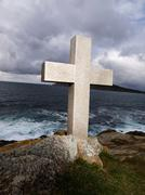 Cross tribute to sailors lost at sea. this cross is located in galicia, spain Stock Photos